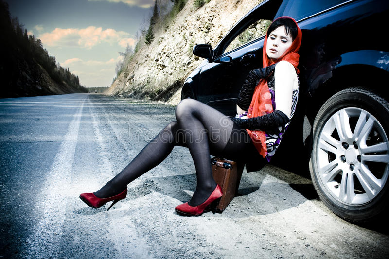 Download Attractive Girl With The Suitcase Near The Car Stock Image - Image: 15237201
