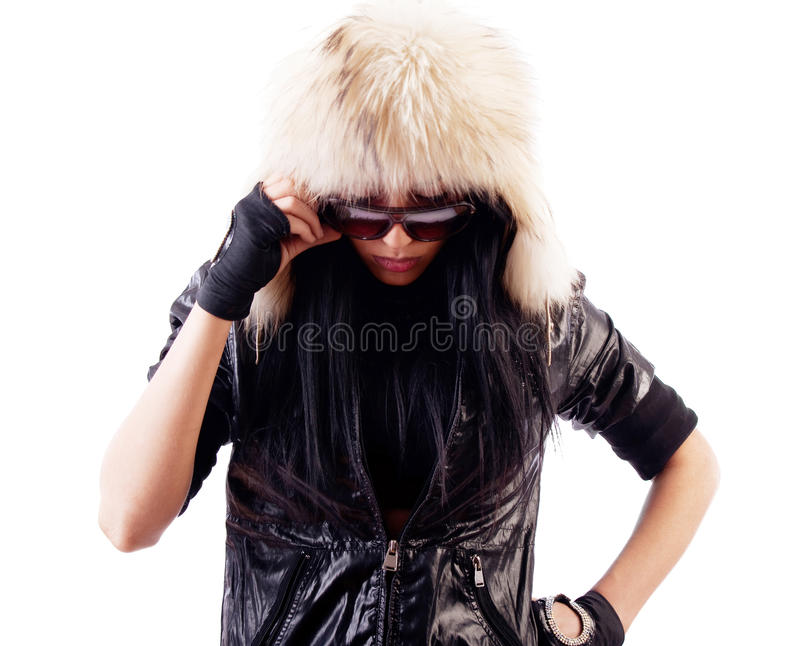 Download Attractive Girl Wearing Fur Hat Stock Image - Image: 12256299