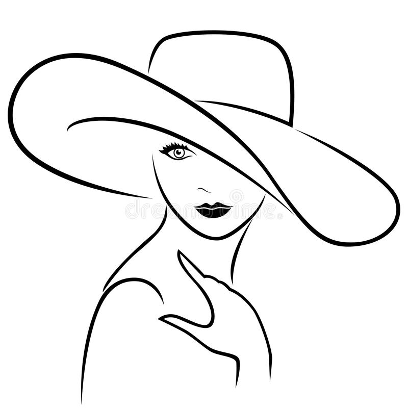 Attractive girl in wide-brimmed hat stock illustration