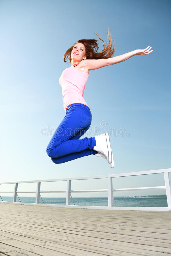 Download Attractive Girl Young Woman Jumping Sky Stock Photo - Image: 28406806