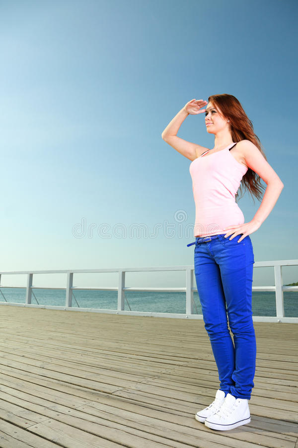Attractive girl Young woman looking stock photo