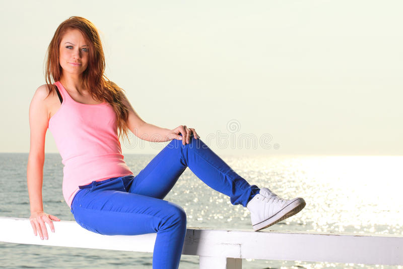 Download Attractive Girl Young Woman Looking At Sea Stock Image - Image: 28406747