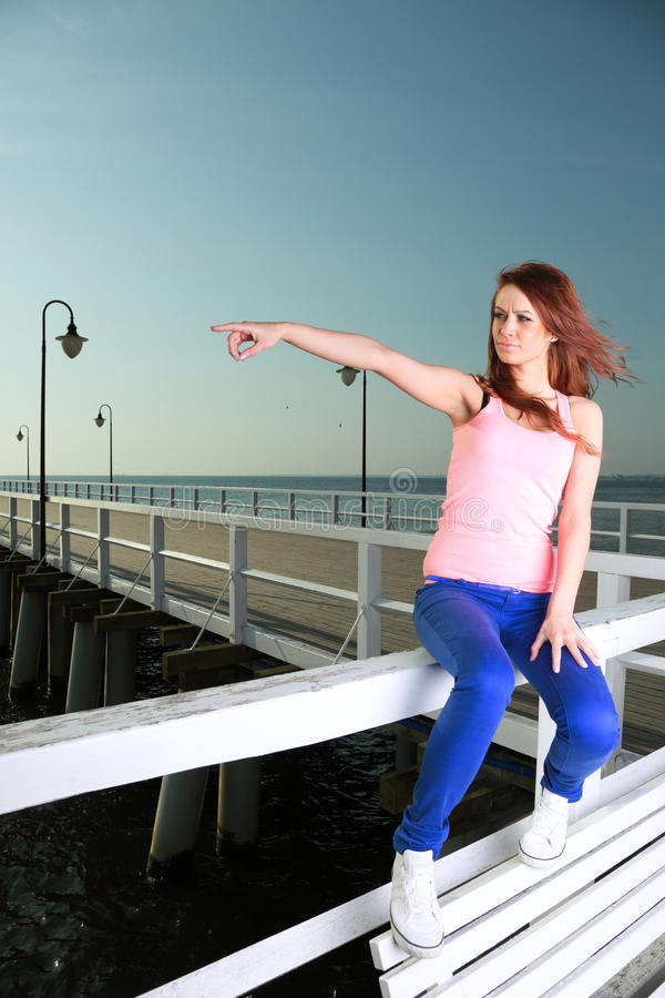 Download Attractive Girl Young Woman Looking At Sea Stock Photo - Image: 28406764