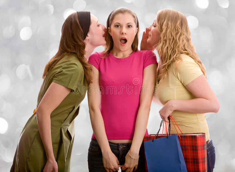 Download Attractive Girls Gossiping. Isolated On White Royalty Free Stock Images - Image: 9537039