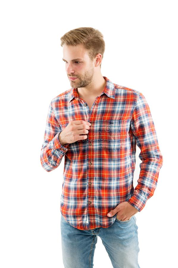 Attractive guy. Sexy people. Youth fashion. Fashionable outfit. Simple casual clothes. Feeling comfortable. Country. Music concept. Country style. Man wear royalty free stock photos