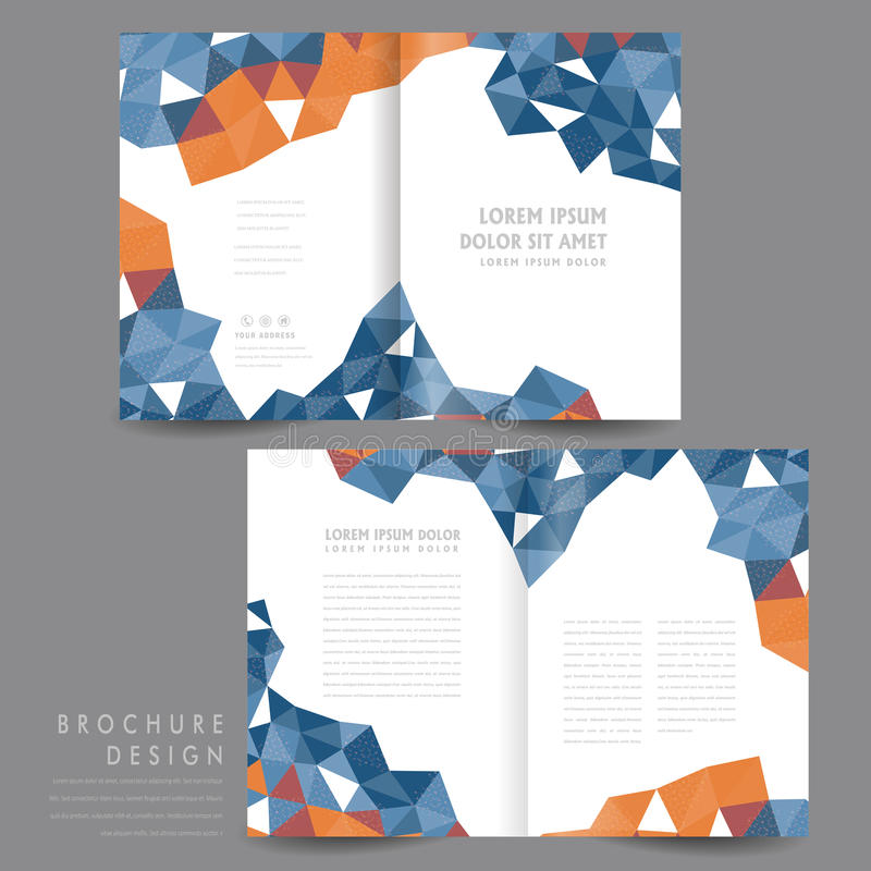 Attractive HalfFold Brochure Template Design Stock Vector