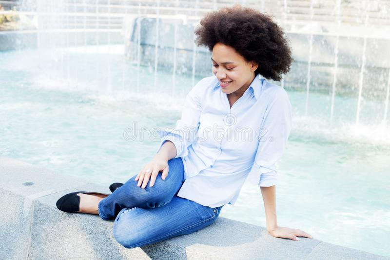 Attractive Happy Afro American Young Woman Outdoors stock photography