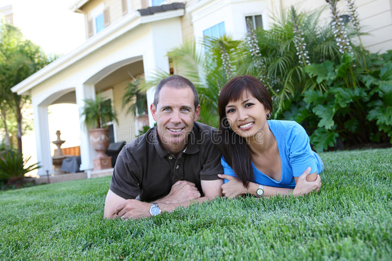 Attractive Husband and Wife at Home stock photo