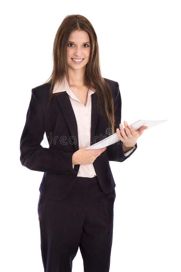 Attractive isolated smiling business woman with documents in her. Attractive isolated happy businesswoman with documents in her hands stock photos