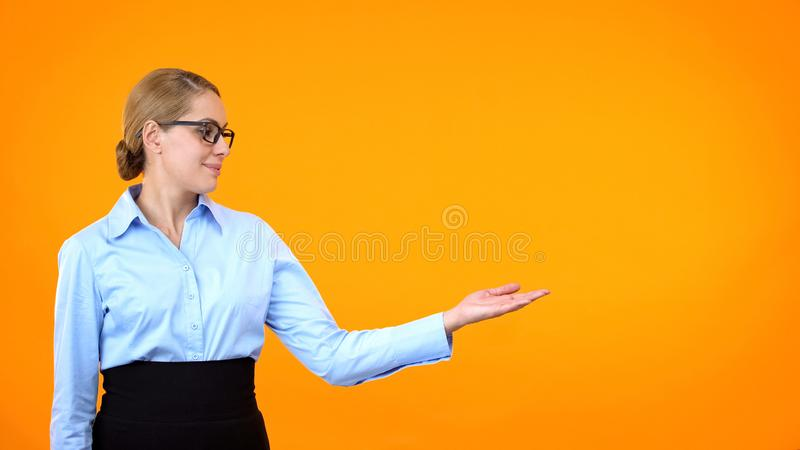 Attractive lady eyeglasses presenting template orange background, announcement stock images