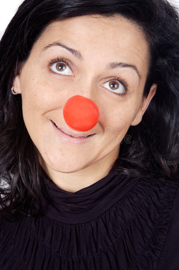 Attractive lady with a red nose royalty free stock photos