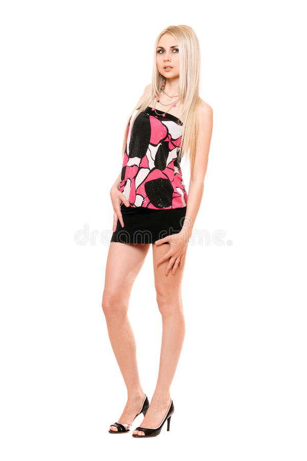 Download Attractive Leggy Young Blonde In Black Miniskirt Stock Images - Image: 22260424