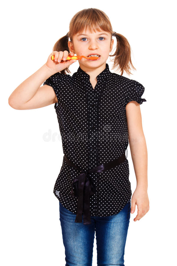 Download Attractive Little Girl Cleaning Teeth Stock Photo - Image: 18342900