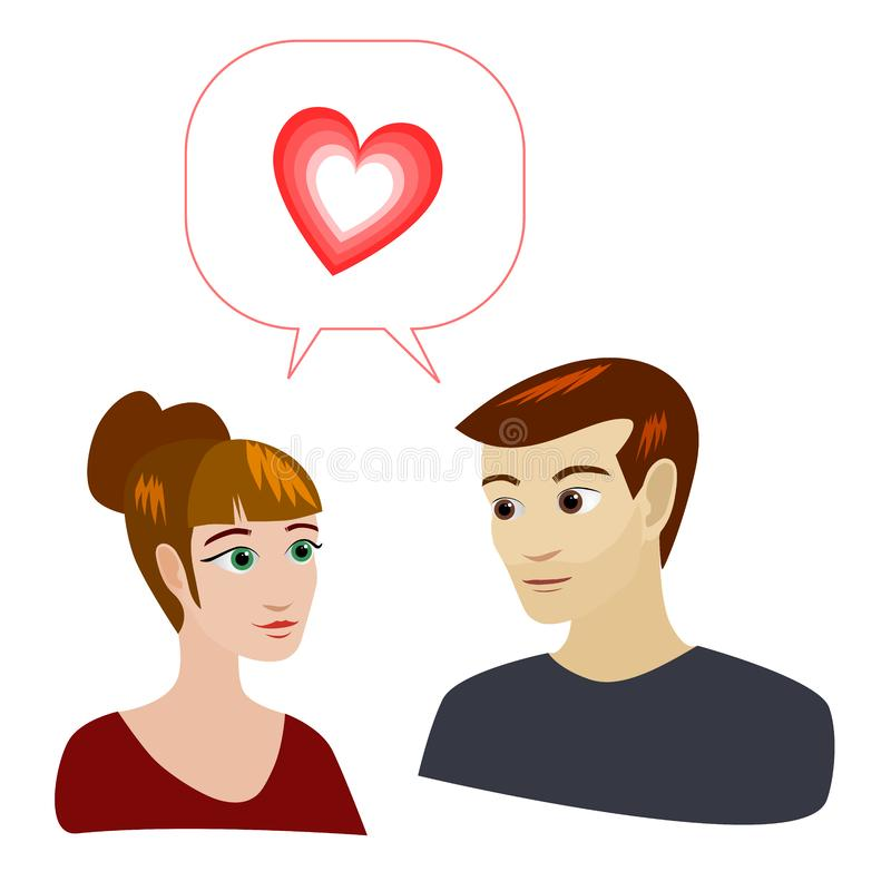 An attractive loving couple. An attractive couple on a white background with a red speech bubble containing a pulsing heart vector illustration