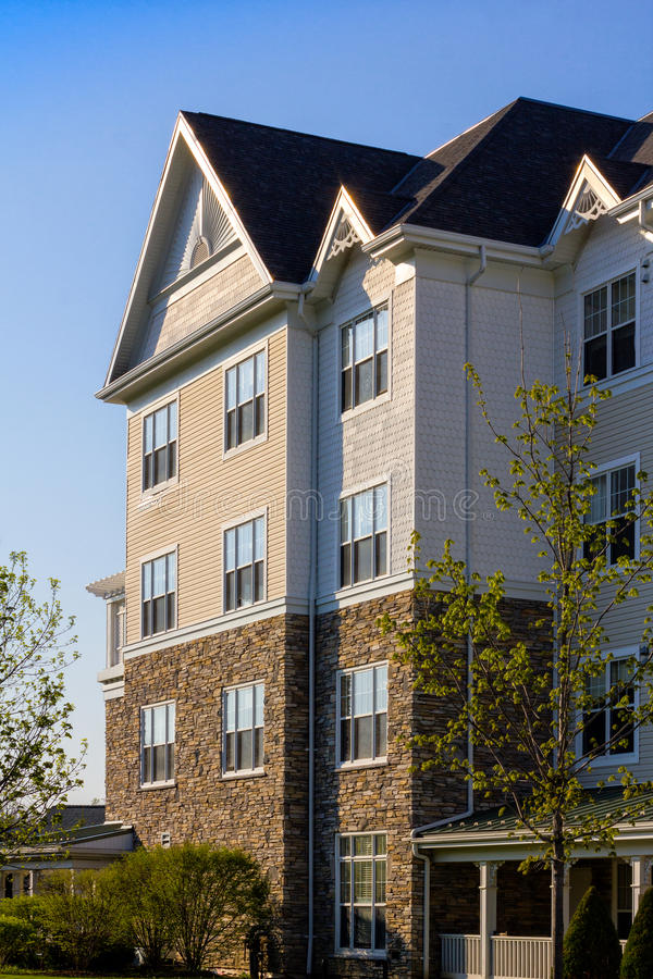 Attractive low-rise apartment building stock photography