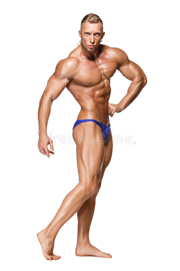 Attractive Male Body Builder On White Background Stock Image - Image ...