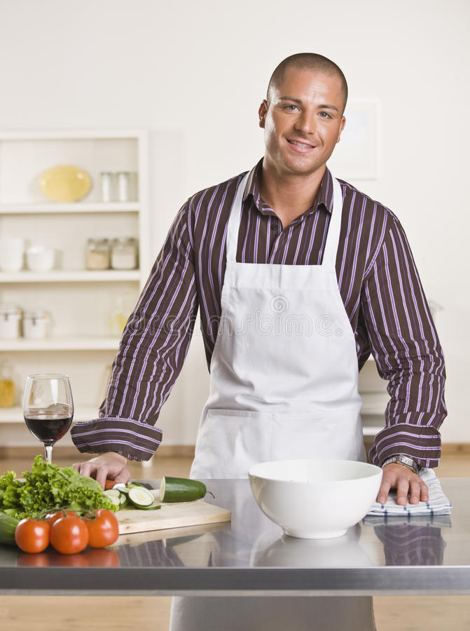 Download Attractive male chef stock photo. Image of beautiful, lettuce - 9799616