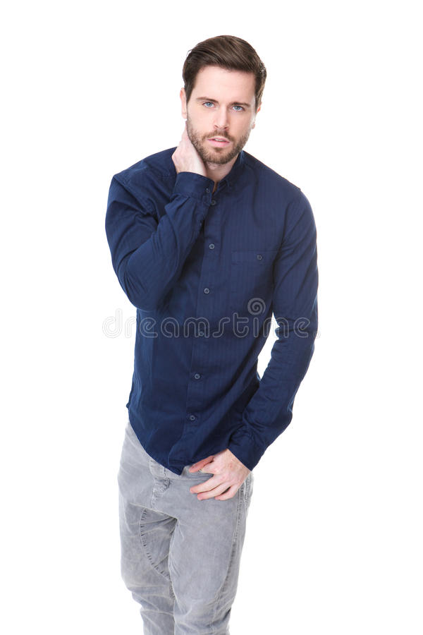 Attractive male fashion model with beard stock photos