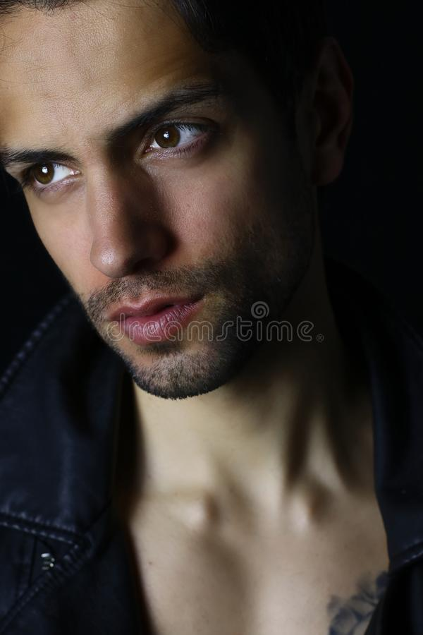Attractive man close up portrait . book cover design royalty free stock photo