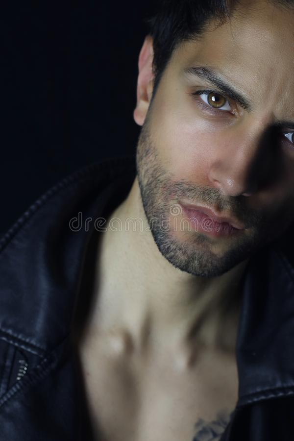 Attractive man close up portrait . book cover design stock photos