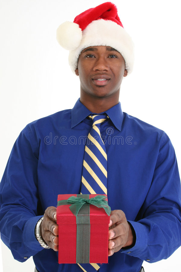 Attractive Man Giving Gift stock photo
