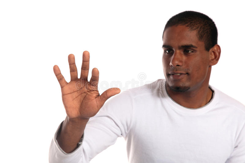 Download Attractive Man Pushing With Forefinger Stock Photo - Image: 14240774