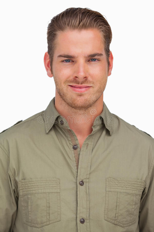 Attractive man smiling at camera stock photos