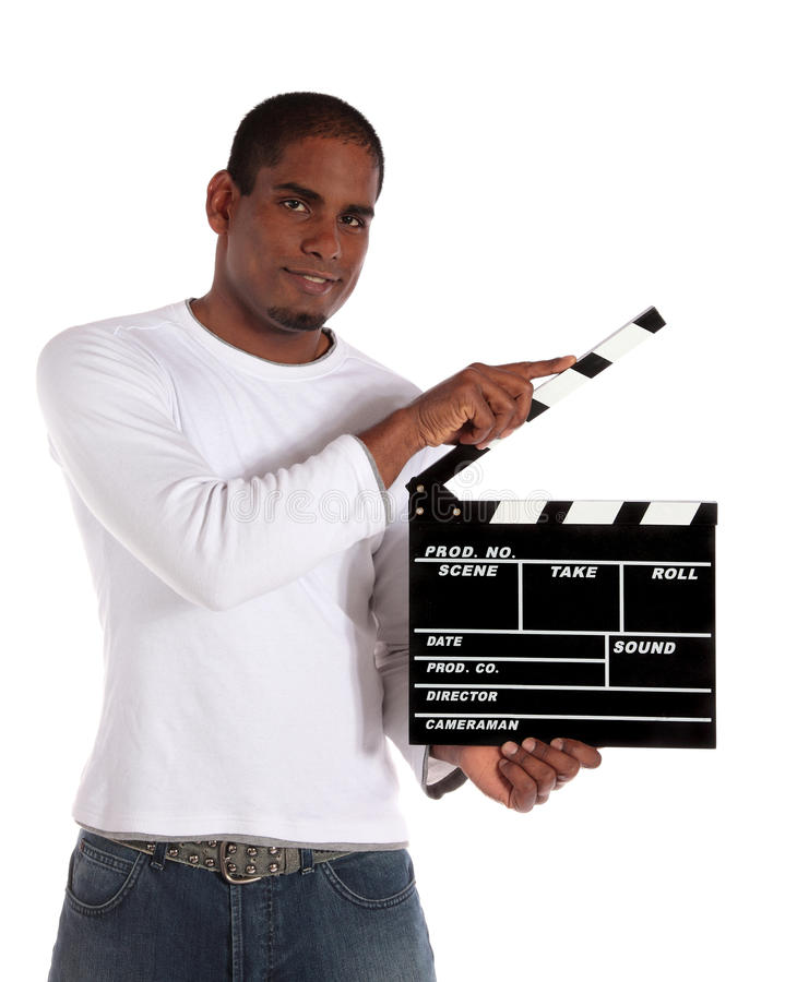 Download Attractive Man Using Clapperboard Stock Photo - Image: 14240588