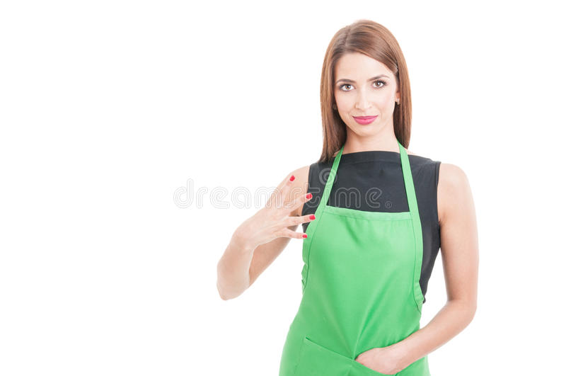 Attractive market seller counting number four. Or fourth isolated on white background with advertising area royalty free stock image