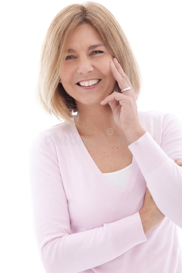 Attractive mature woman with a lively smile royalty free stock images