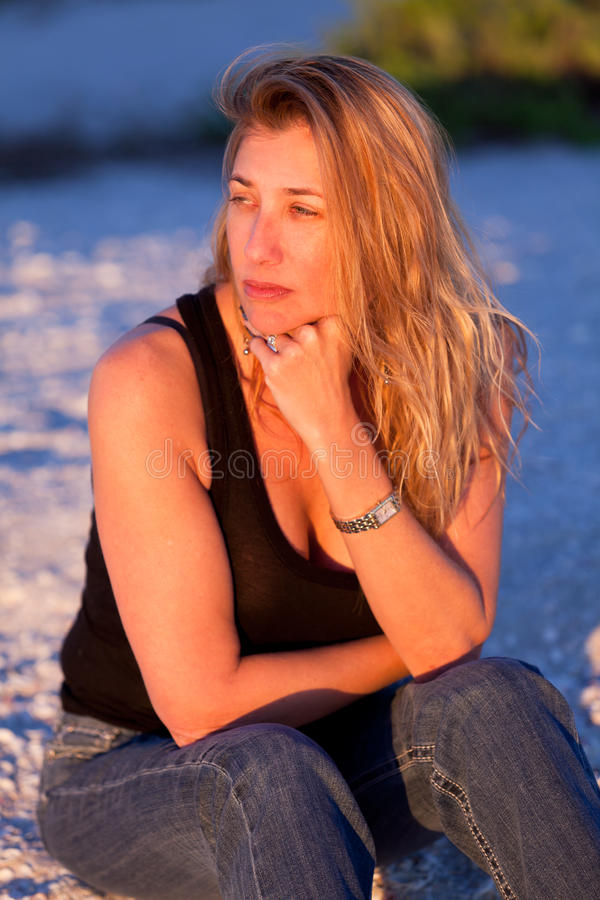Attractive Middle Aged Blond Woman at the Beach
