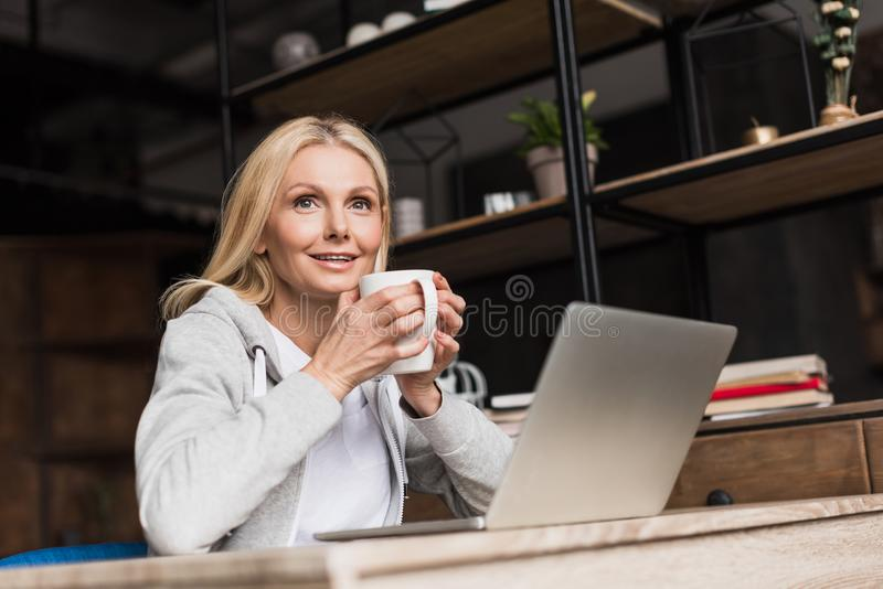 attractive middle aged woman drinking coffee and using laptop royalty free stock image