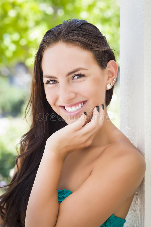 Attractive Mixed Race Girl Portrait royalty free stock image