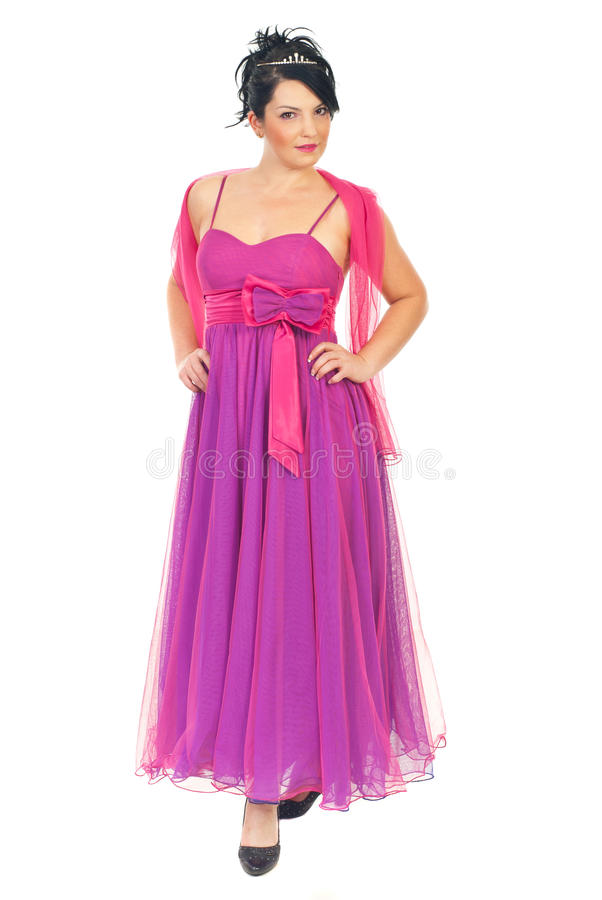 Attractive model woman in pink dress royalty free stock photography