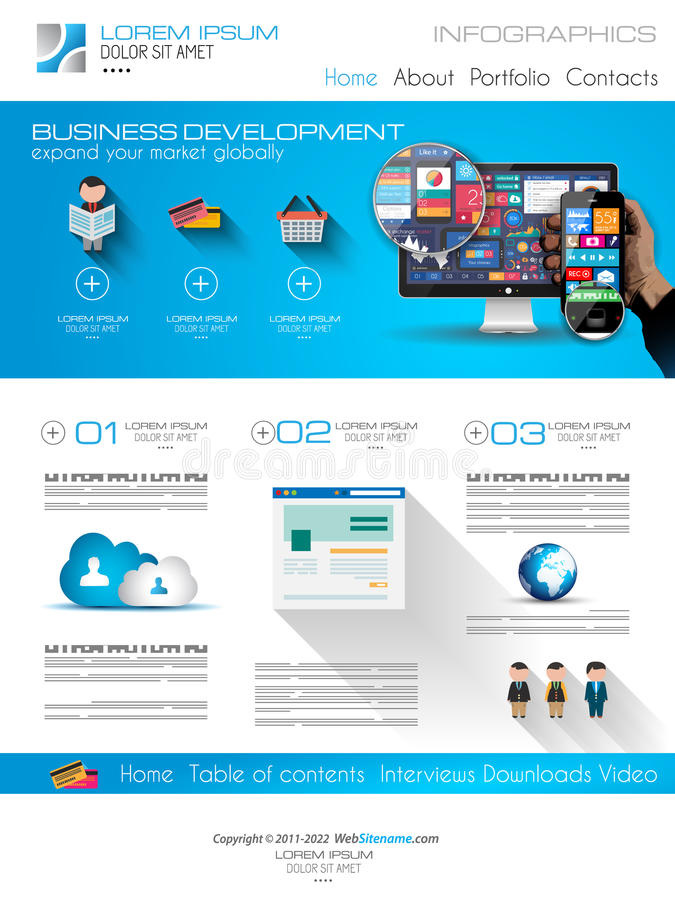 Attractive Modern Business Web Template with flat UI elements. royalty free illustration