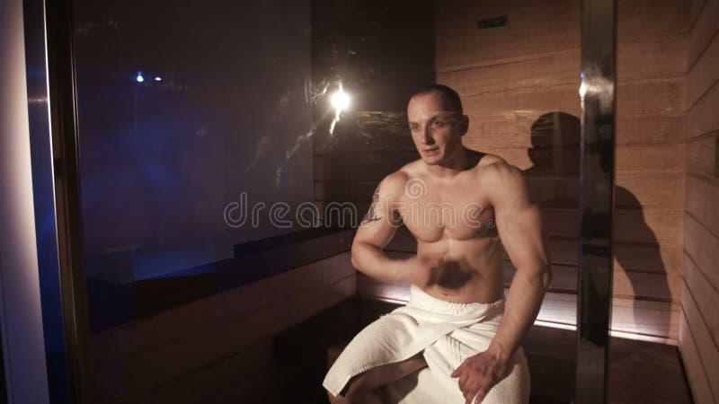 Attractive Muscular Athlete In A Sauna