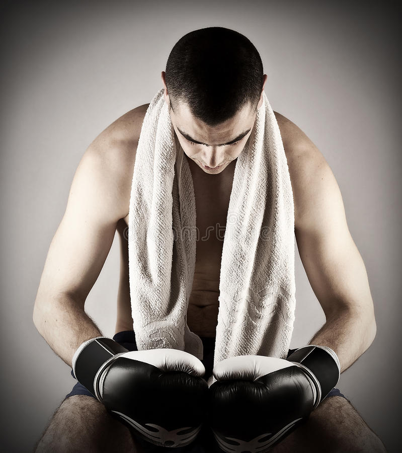 Attractive muscular boxing stock photos