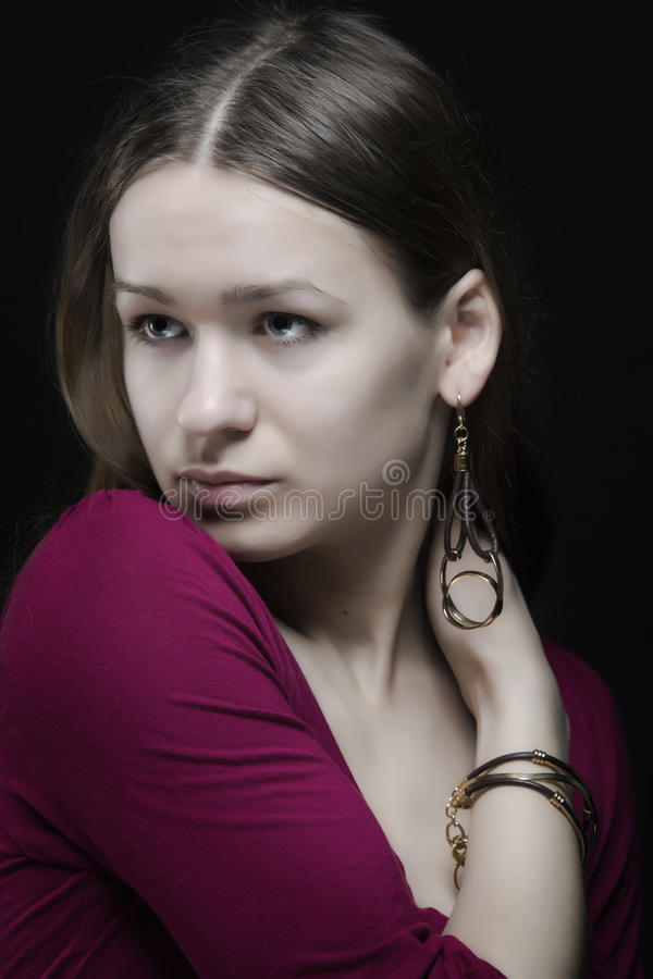 Download Attractive Natural Face Woman With Earring Portrait Stock Photo - Image: 30486566