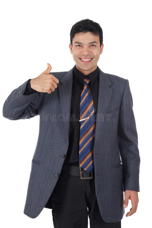 Attractive Nepalese businessman, thumb up stock image