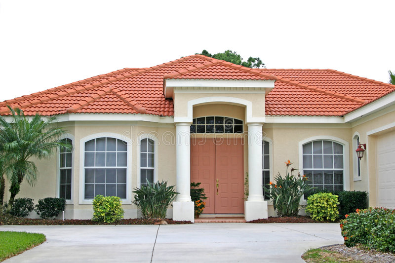 Attractive New Home with Coral Door stock photos