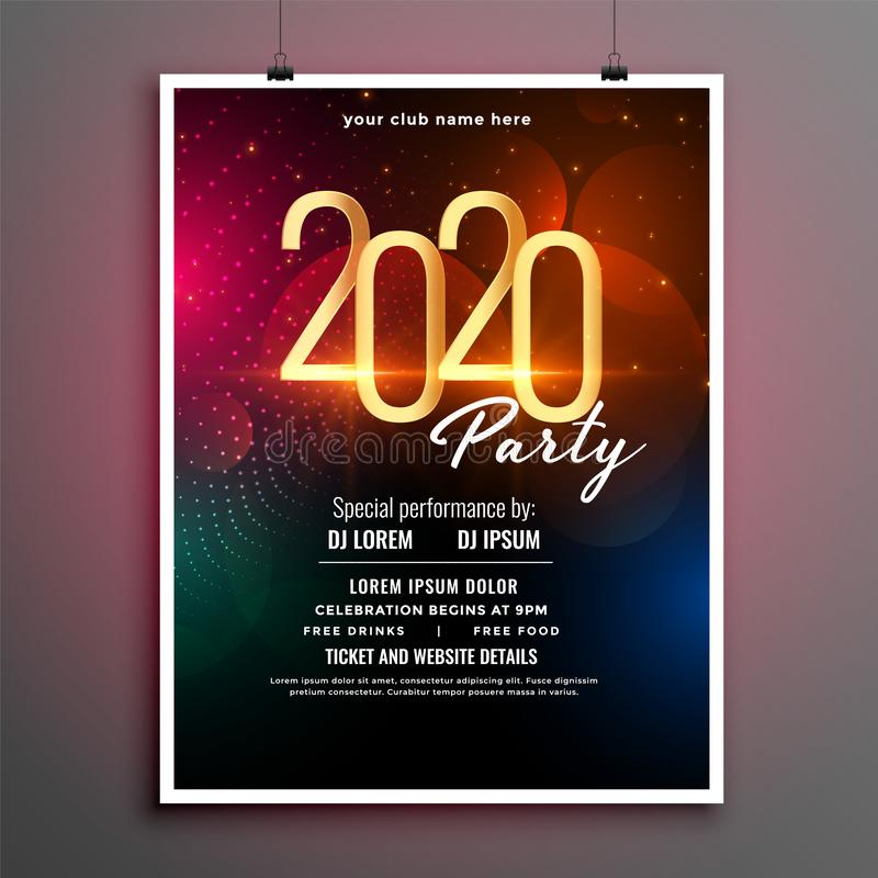 Attractive new year event party flyer template design 库存例证
