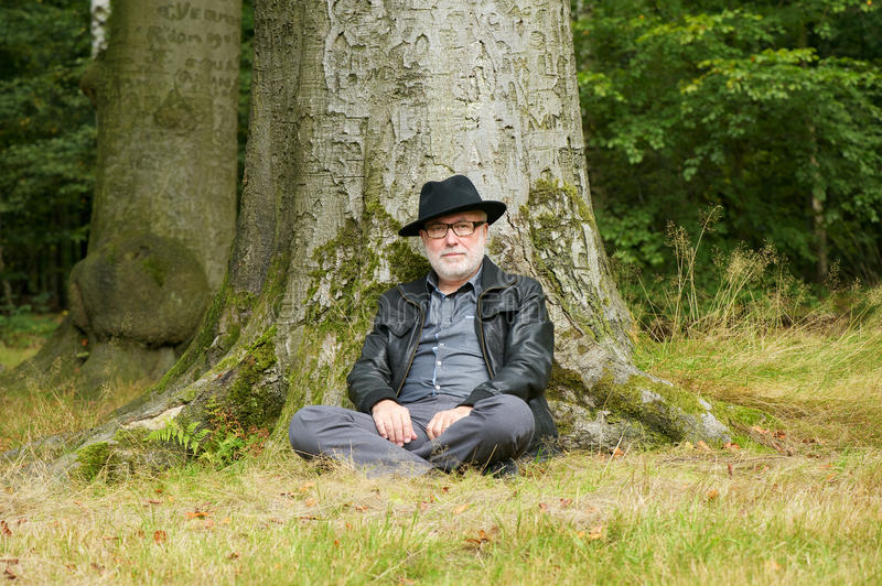 Attractive Older Man Sitting Under Tree Royalty Free Stock Images