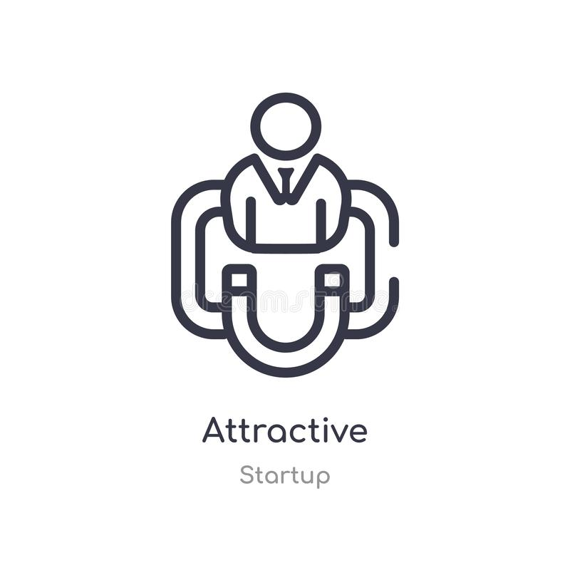 attractive outline icon. isolated line vector illustration from startup collection. editable thin stroke attractive icon on white royalty free illustration