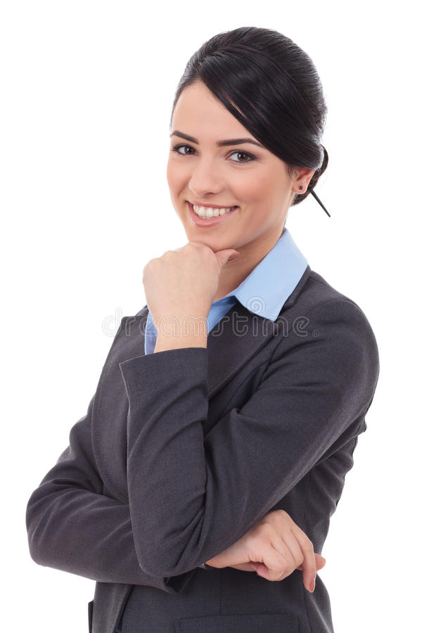Attractive pensive businesswoman royalty free stock photo