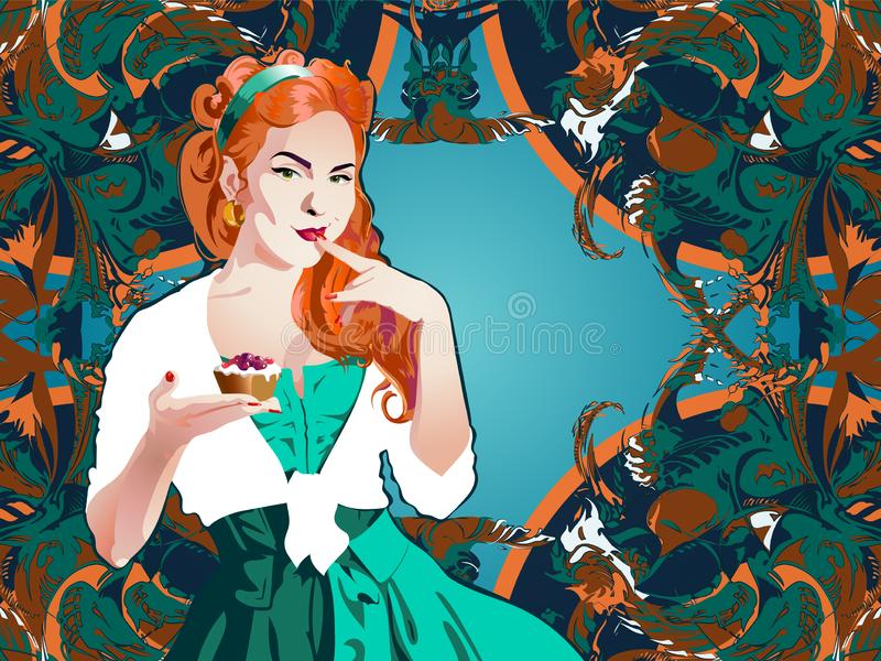 Attractive pin-up style girl holding a cake stock illustration