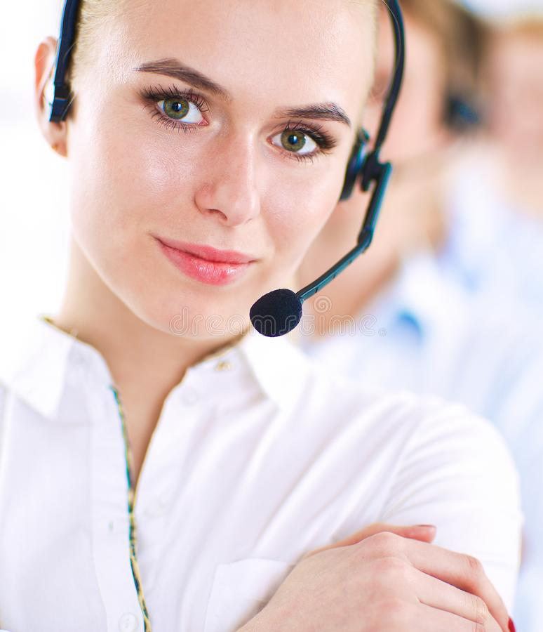 Attractive positive young businesspeople and colleagues in a call center office royalty free stock photos