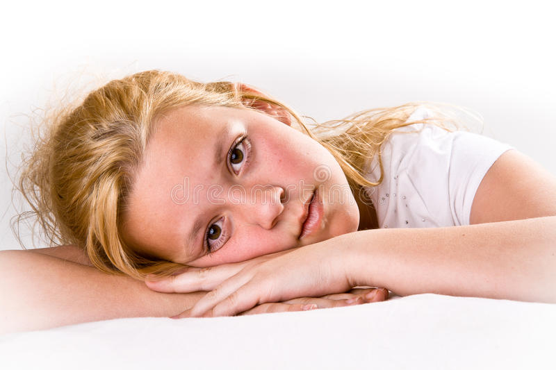 Attractive Pre-teen Looking At Viewer Stock Image