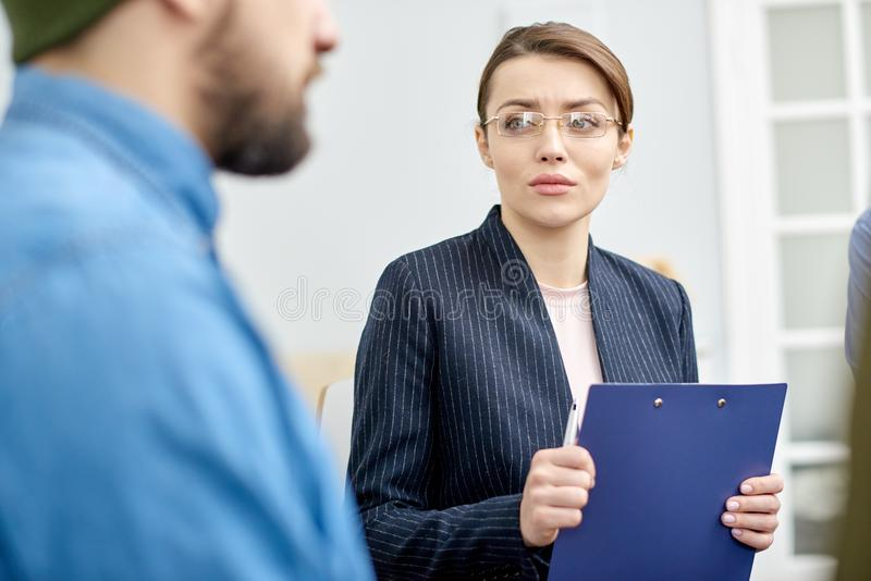 Attractive Psychologist Working with Patient stock images