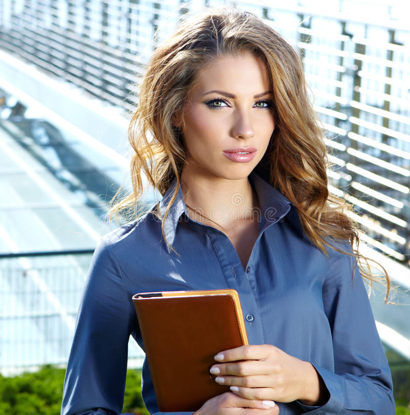 attractive real estate agent woman stock photo