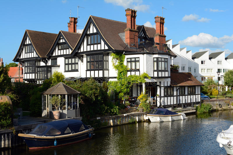 Attractive riverside residence stock photo